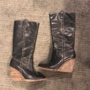 Black Wedge Frye Boots